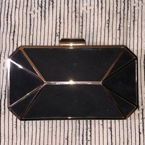 Suede black with gold clutch
